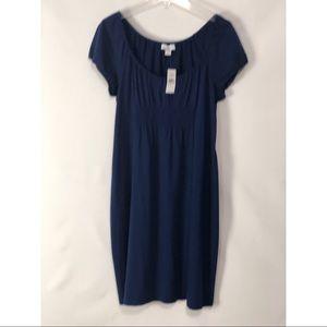 🆕 Ann Taylor LOFT Navy Ruched Dress L